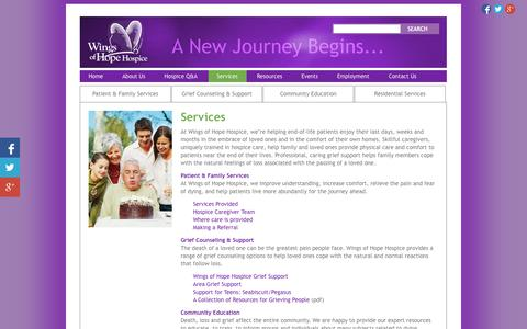 Screenshot of Services Page wingsofhopehospice.com - Hospice Services, Allegan, MI - Wings of Hope Hospice - captured Oct. 26, 2014