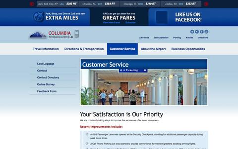 Screenshot of Support Page columbiaairport.com - Customer Service | Columbia Metropolitan Airport | CAE | Columbia, SC - captured Oct. 8, 2014