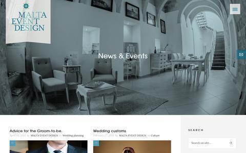 Screenshot of Blog Press Page maltaeventdesign.com - Malta Event DesignNews & Events - Malta Event Design - captured July 9, 2016
