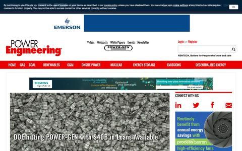 Screenshot of Home Page power-eng.com - Power Engineering - Power generation technology and news for the power industry - captured Oct. 21, 2018