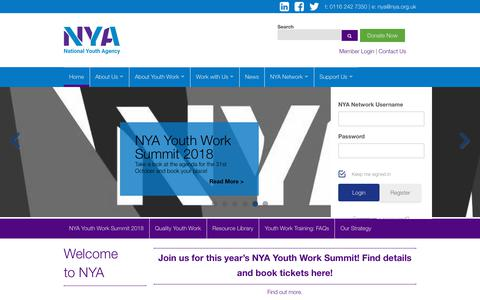 Screenshot of Home Page nya.org.uk - Prepare for Life| National Youth Agency - captured Oct. 18, 2018