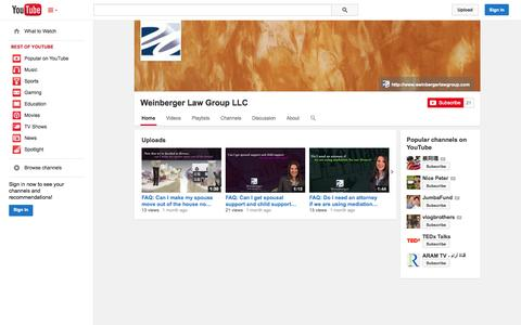 Screenshot of YouTube Page youtube.com - Weinberger Law Group LLC  - YouTube - captured Nov. 3, 2014