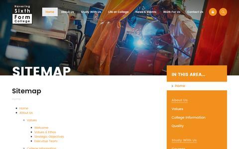 Screenshot of Site Map Page havering-sfc.ac.uk - Havering Sixth Form College - Sitemap - captured Nov. 2, 2016