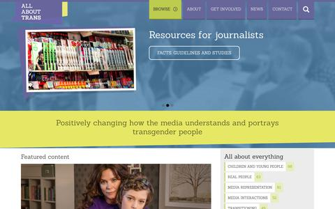 Screenshot of Home Page allabouttrans.org.uk - All About Trans - Positively changing how the media understands and portrays transgender people - captured Oct. 26, 2018