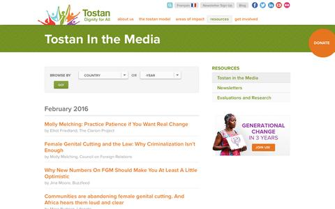 Screenshot of Press Page tostan.org - In the Media | Tostan - captured Feb. 23, 2016