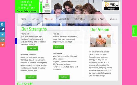 Screenshot of About Page nerdschool.com - Nerd School Trainers Contact Information - captured Oct. 26, 2014