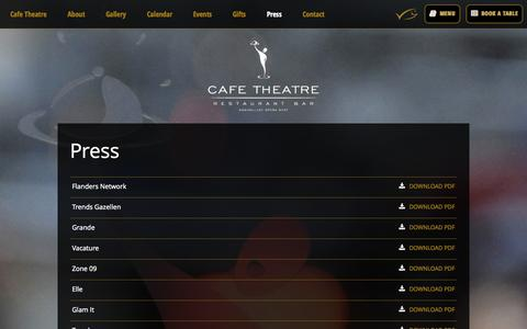 Screenshot of Press Page cafetheatre.be - Cafe Theatre press - captured Sept. 26, 2014