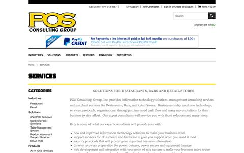 Screenshot of Services Page posconsultinggroup.com - POS Consulting Group. Experts in Point of Sale Solutions for Restaurants, Bars & Retail - captured Oct. 1, 2014