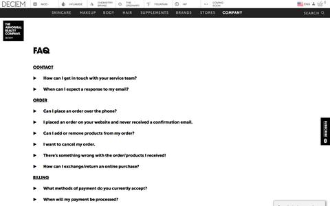 Screenshot of FAQ Page deciem.com - DECIEM | Faq - captured July 15, 2019