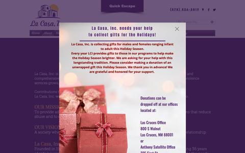 Screenshot of About Page lacasainc.org - About | La Casa Inc. - captured Dec. 13, 2018