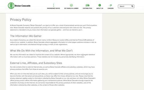 Screenshot of Privacy Page bc.com - Privacy Policy - Boise Cascade - captured Nov. 30, 2017