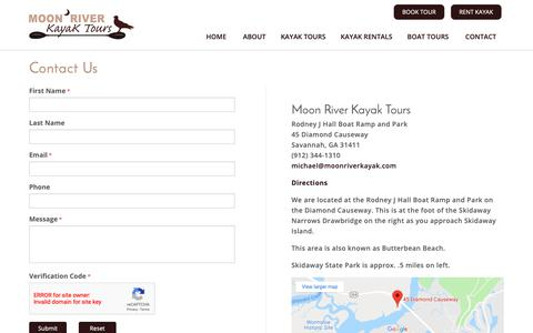 Screenshot of Contact Page moonriverkayak.com - Contact - captured Oct. 20, 2018