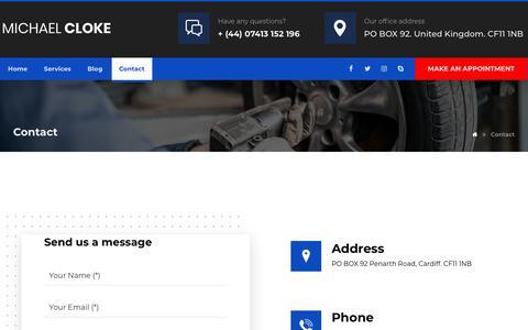 Screenshot of Contact Page michaelcloke.com - Contact – Michael Cloke - captured Jan. 2, 2020