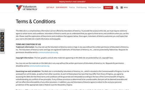 Screenshot of Terms Page voa.org - Terms & Conditions | Volunteers of America - captured Nov. 11, 2016