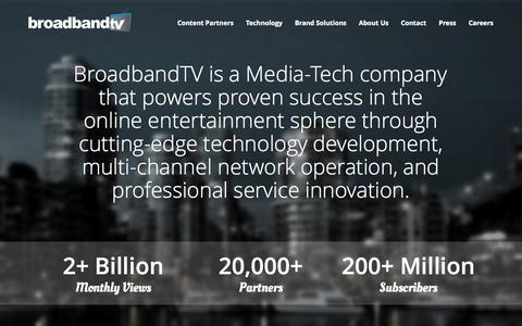 Screenshot of Home Page bbtv.com - BroadbandTV Corp - captured Sept. 25, 2014