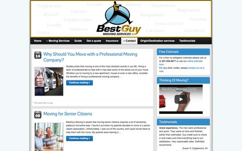 Screenshot of Blog bestguymoving.com - Movers Tips and Guide   Moving Company NJ - captured Oct. 5, 2018