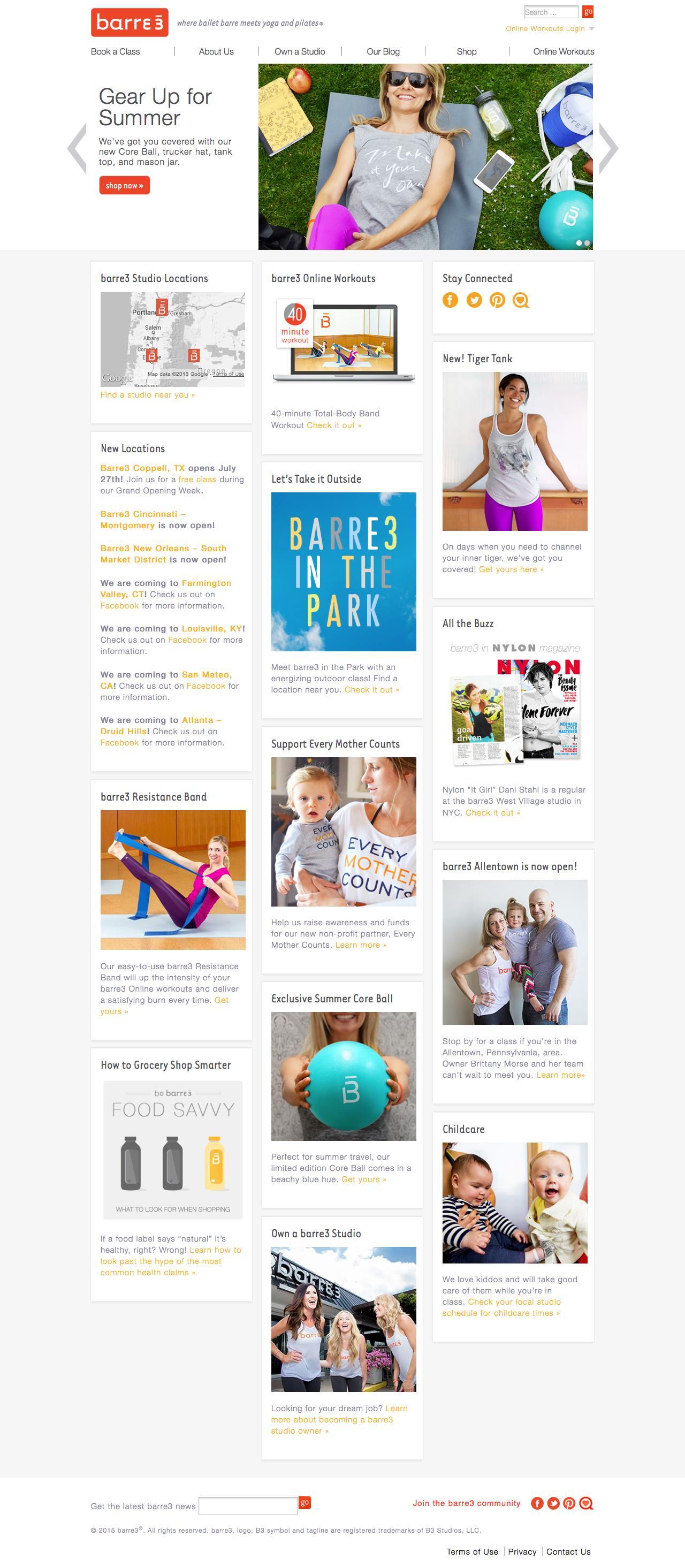 Screenshot of barre3.com - Barre3 - where ballet barre meets yoga and pilates® - captured July 27, 2015