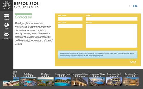 Screenshot of Contact Page hersotels.gr - Contact us -  Hersonissos Group Hotels - captured Sept. 28, 2018