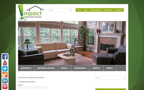 Screenshot of Contact Page impactids.com - Contact Us  Interior Design Solutions - captured Oct. 6, 2014
