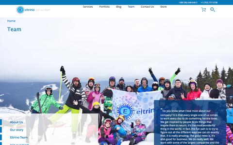 Screenshot of About Page Team Page eltrino.com - Team - Eltrino - captured July 18, 2018