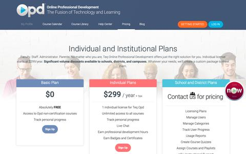 Screenshot of Pricing Page teq.com - Teq Online Professional Development - captured Nov. 19, 2018