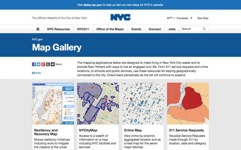 Screenshot of Maps & Directions Page nyc.gov - NYC Maps | City of New York - captured Sept. 23, 2018