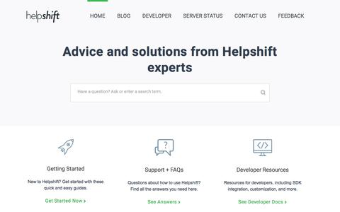 Screenshot of FAQ Page Support Page helpshift.com - Helpshift Knowledge Base - captured May 26, 2017