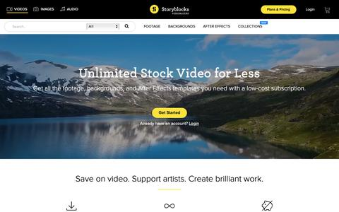 Screenshot of Home Page videoblocks.com - Storyblocks Video - Unlimited Stock Video, Footage, & AE Templates - captured Sept. 28, 2018