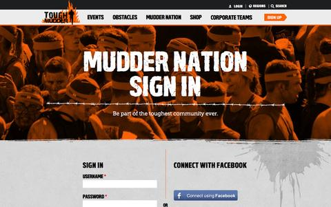 Screenshot of Login Page toughmudder.com - Tough Mudder - Login | Tough Mudder - captured Sept. 22, 2014