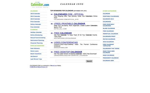Screenshot of Home Page calendar.com - Calendar.com: Your Trusted Calendar Source. - captured Sept. 19, 2014
