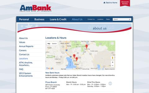 Screenshot of Locations Page myambank.com - American Bank of Commerce Branch Locations & Hours | Provo, UT - Lindon, UT - Heber City, UT - captured Oct. 8, 2017