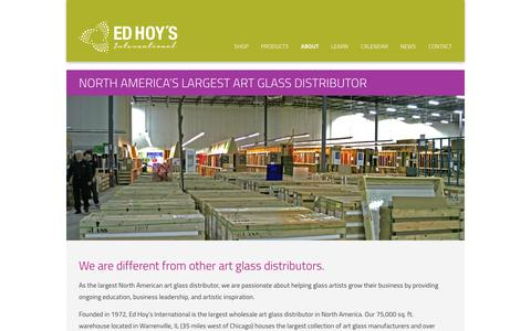 Screenshot of About Page edhoy.com - North America's Largest Art Glass Distributor - Ed Hoy's International - captured Jan. 26, 2016