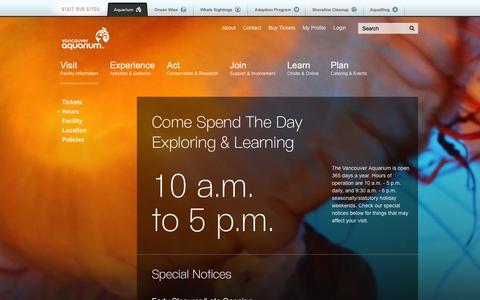 Screenshot of Hours Page vanaqua.org - Vancouver Aquarium :: Hours - captured Oct. 31, 2014