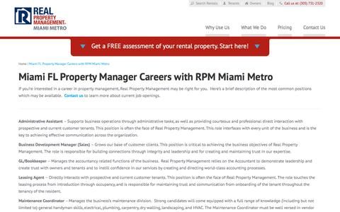 Screenshot of Jobs Page rpmmiamimetro.com - Property Manager Careers Miami FL | Real Property Management Miami Metro - captured July 8, 2018