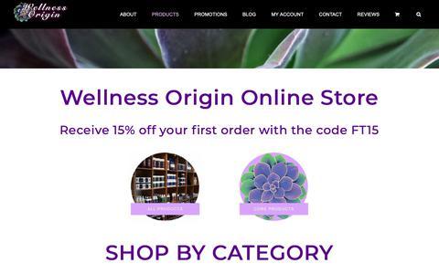 Screenshot of Products Page wellnessorigin.com - Full Shop - Wellness Origin Organic Wildcrafted Store - captured Oct. 20, 2018