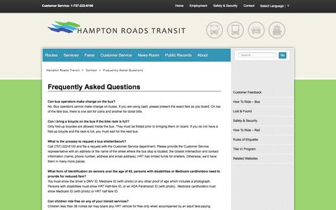 Screenshot of FAQ Page gohrt.com - Frequently Asked Questions - Hampton Roads Transit - Our mission is to serve the community through high quality, safe, efficient and sustainable regional transportation services. - captured Oct. 1, 2014