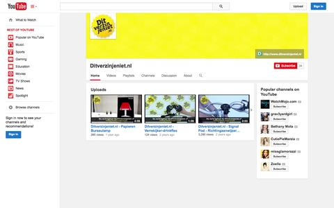 Screenshot of YouTube Page youtube.com - Ditverzinjeniet.nl  - YouTube - captured Oct. 23, 2014