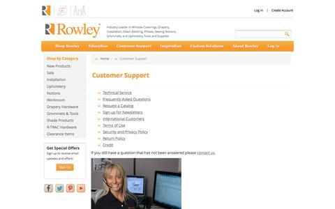 Screenshot of Support Page rowleycompany.com - Rowley Customer Support | Rowley - captured May 21, 2017