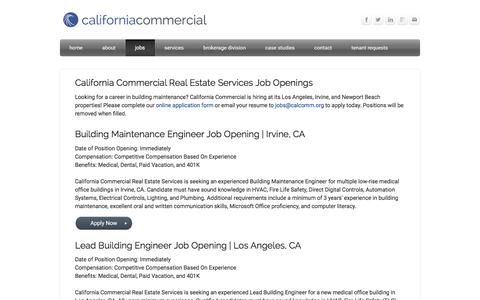 Screenshot of Jobs Page calcomm.org - Building Maintenance Jobs in Los Angeles Irvine and Newport Beach, CA - Medical Property Management in CA - captured Jan. 24, 2016