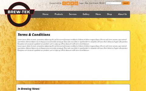 Screenshot of Terms Page brew-tek.com - Terms & Conditions   BREW-TEK - captured July 30, 2016