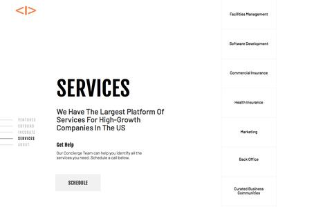 Screenshot of Services Page interplay.vc - Scale your Startup with Interplay Ventures - captured Sept. 18, 2019