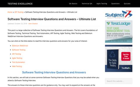 Screenshot of FAQ Page testingexcellence.com - Software Testing Interview Questions and Answers - Ultimate List | 2018 - captured Dec. 10, 2018