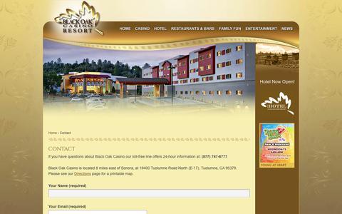 Screenshot of Contact Page blackoakcasino.com - Contact | Black Oak Casino - captured Oct. 5, 2014