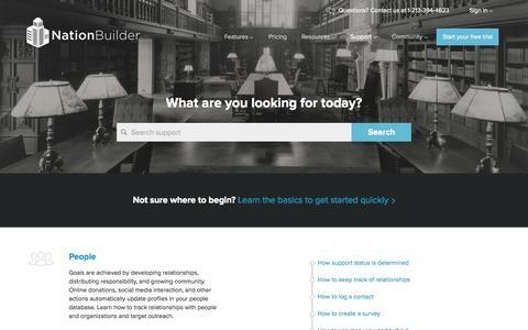 Screenshot of Support Page nationbuilder.com - NationBuilder Support - captured June 16, 2015