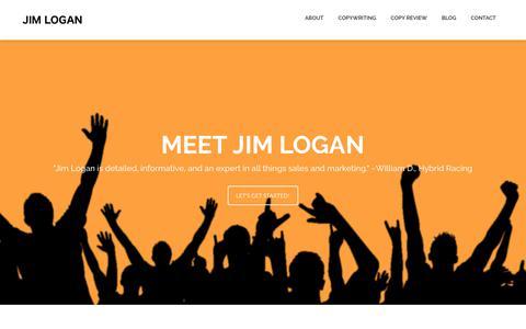 Screenshot of About Page jslogan.com - Meet Jim Logan - captured Oct. 4, 2017