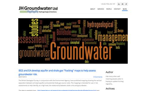Screenshot of Blog jhgroundwater.co.uk - JH Groundwater - Blog - captured Oct. 3, 2014