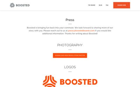 Screenshot of Press Page boostedboards.com - Press - Boosted Boards - captured May 19, 2016
