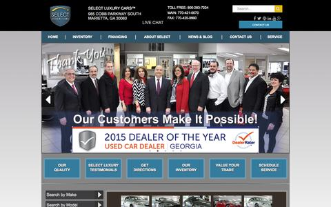 Screenshot of Home Page selectluxury.com - Select Luxury Cars | Marietta, GA Used Car Dealer - captured Sept. 5, 2015