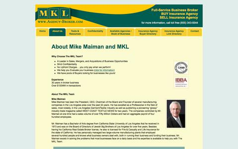 Screenshot of About Page agency-broker.com - About Mike Maiman and MKL | Agency-Broker.com - captured Dec. 1, 2017