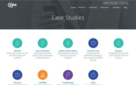 Screenshot of Case Studies Page virtualhold.com - Contact Center Case Studies | VHT - captured May 13, 2017